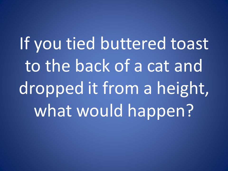 If you tied buttered toast to the back of a cat and dropped it from a height, what would happen