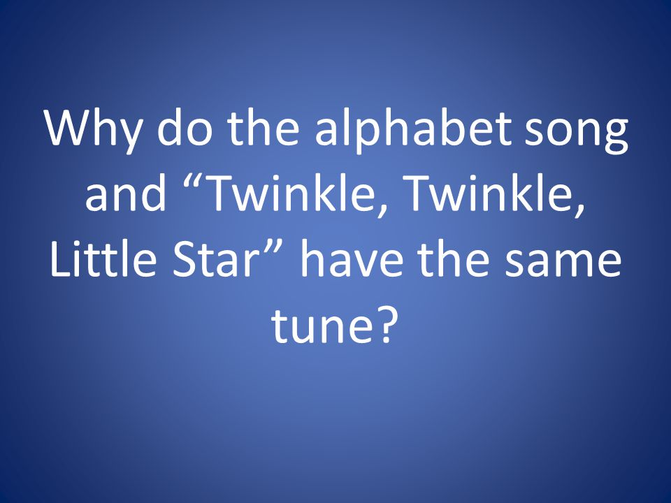 Why do the alphabet song and Twinkle, Twinkle, Little Star have the same tune
