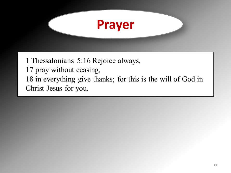 Prayer 1 Thessalonians 5:16 Rejoice always, 17 pray without ceasing,