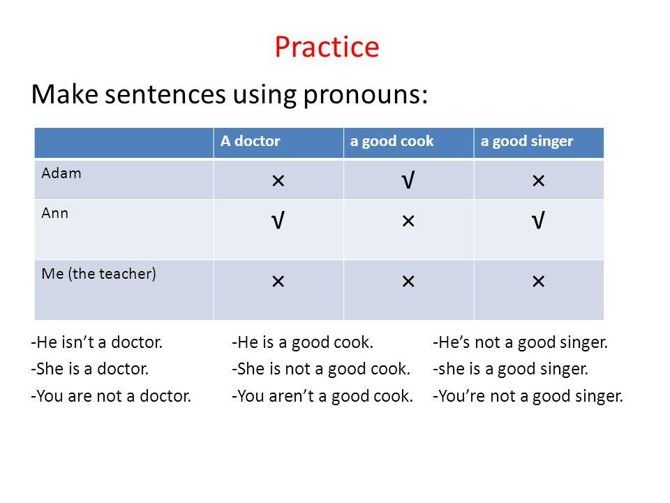Practice Make sentences using pronouns: × √
