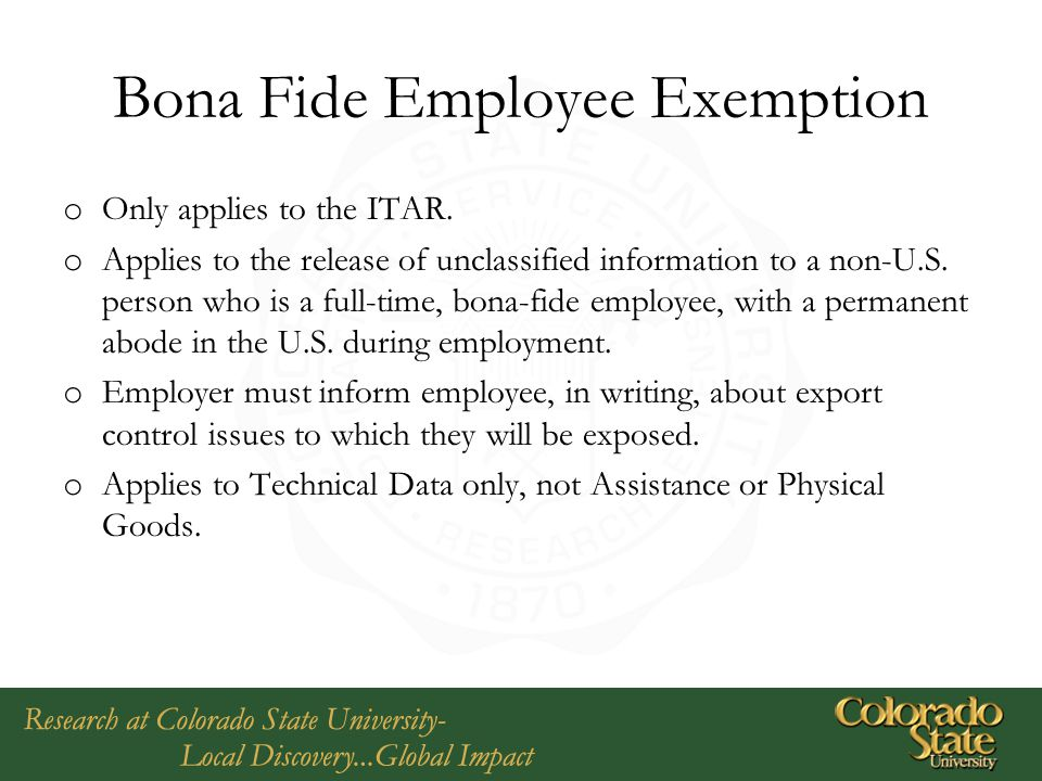 Bona Fide Employee Exemption