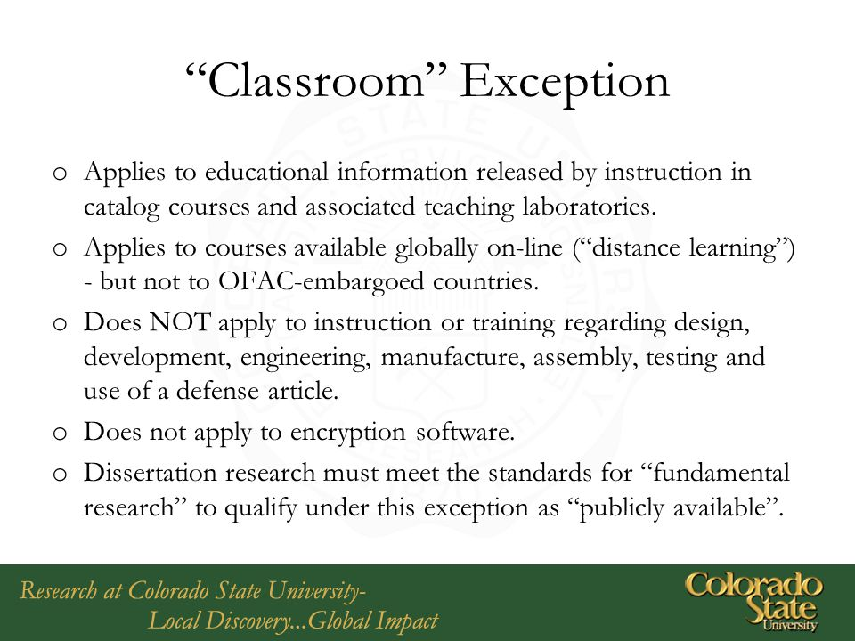 Classroom Exception