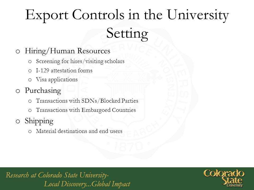 Export Controls in the University Setting
