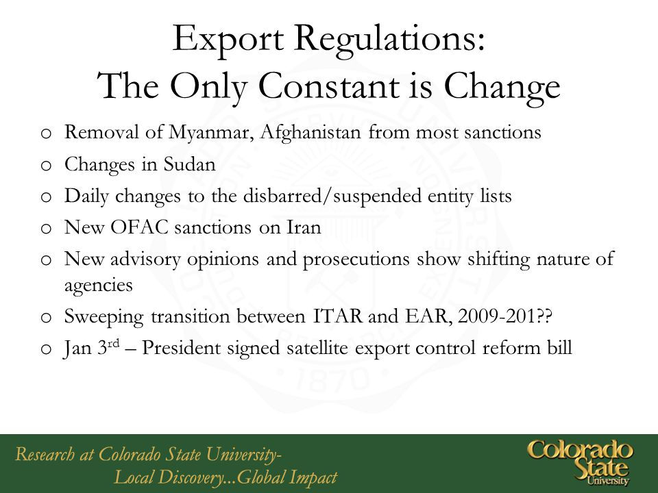 Export Regulations: The Only Constant is Change