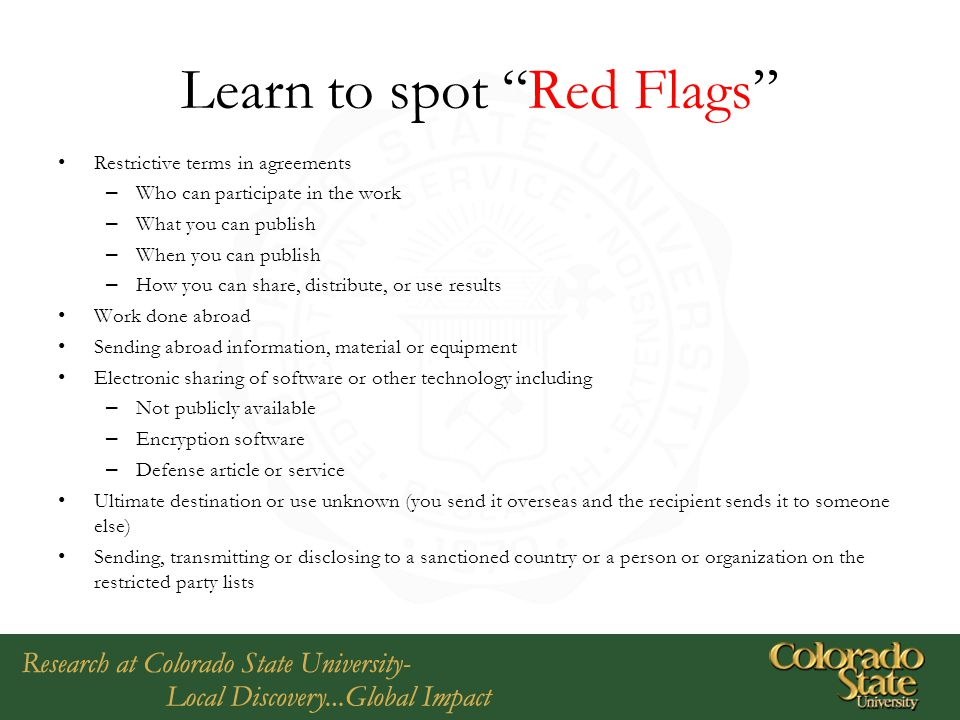 Learn to spot Red Flags