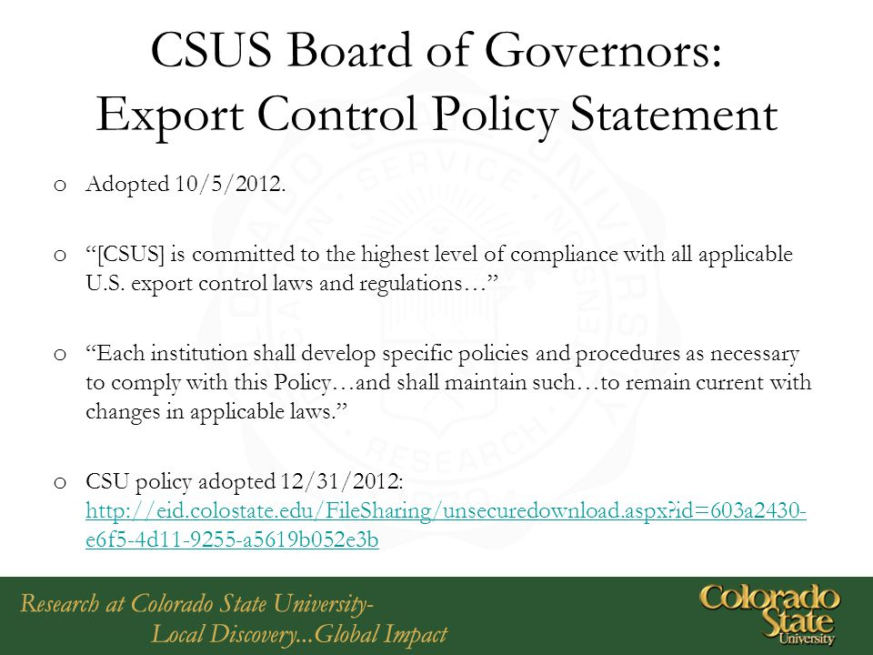 CSUS Board of Governors: Export Control Policy Statement