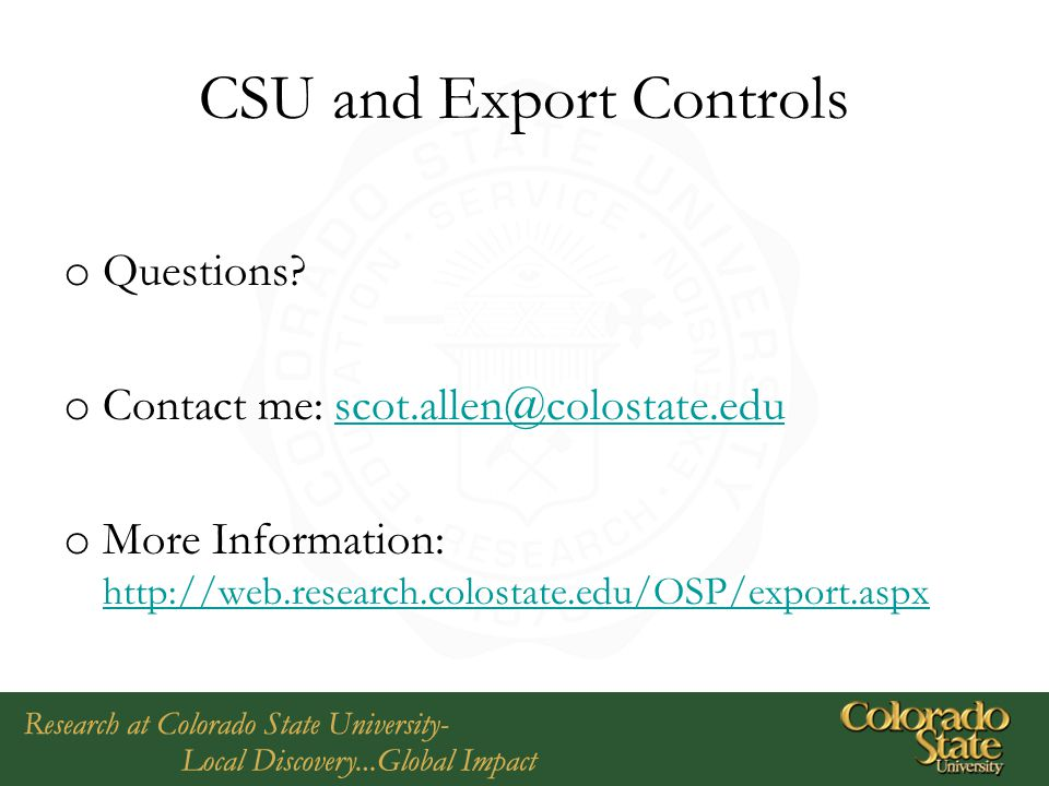 CSU and Export Controls