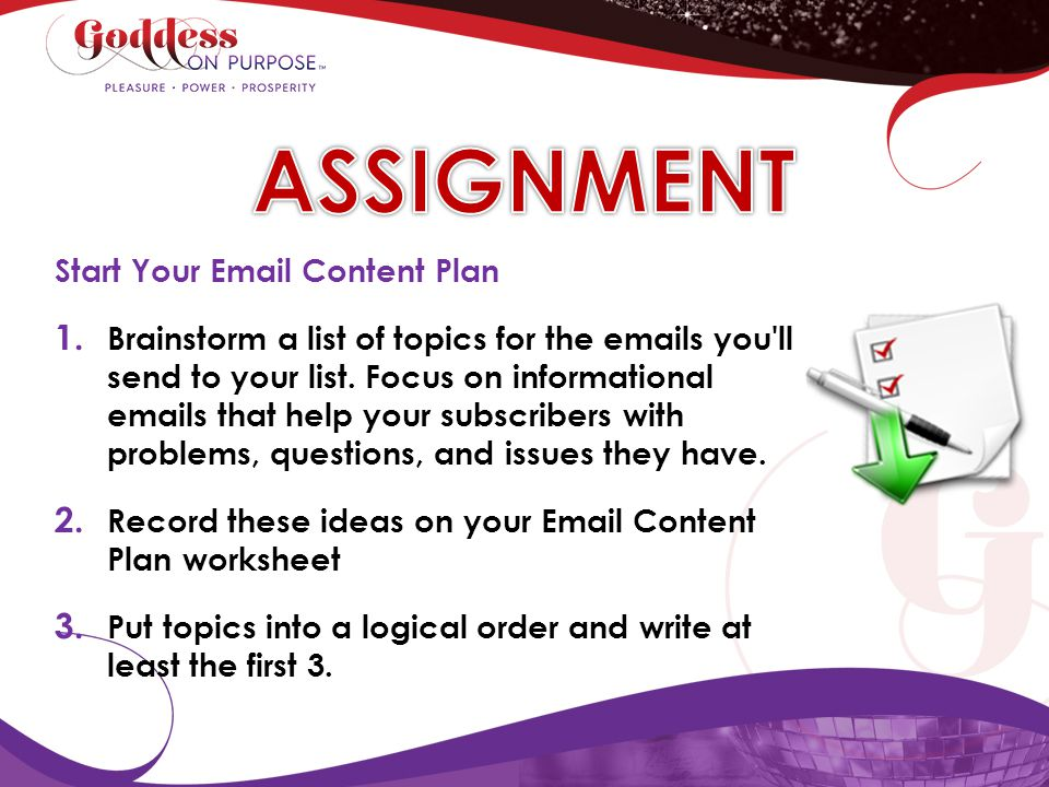 ASSIGNMENT Start Your Email Content Plan