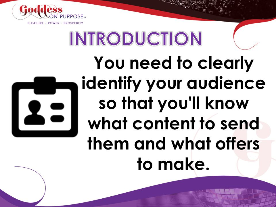 INTRODUCTION You need to clearly identify your audience so that you ll know what content to send them and what offers to make.