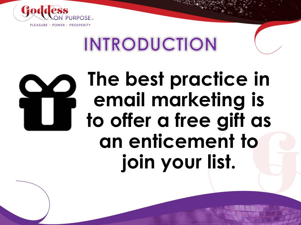 INTRODUCTION The best practice in email marketing is to offer a free gift as an enticement to join your list.