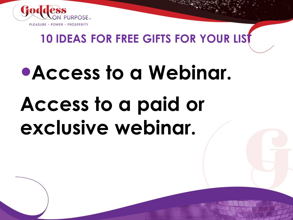 10 IDEAS FOR FREE GIFTS FOR YOUR LIST
