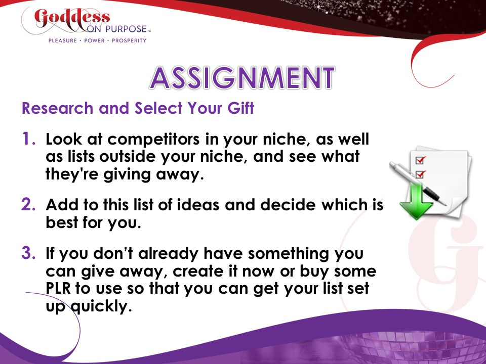 ASSIGNMENT Research and Select Your Gift