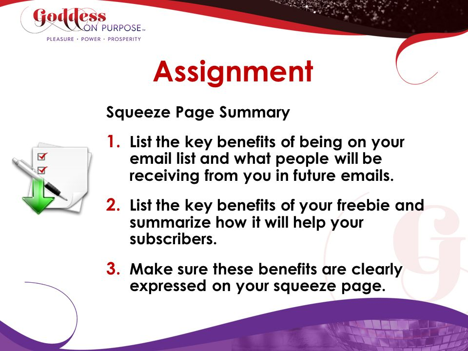 Assignment Squeeze Page Summary