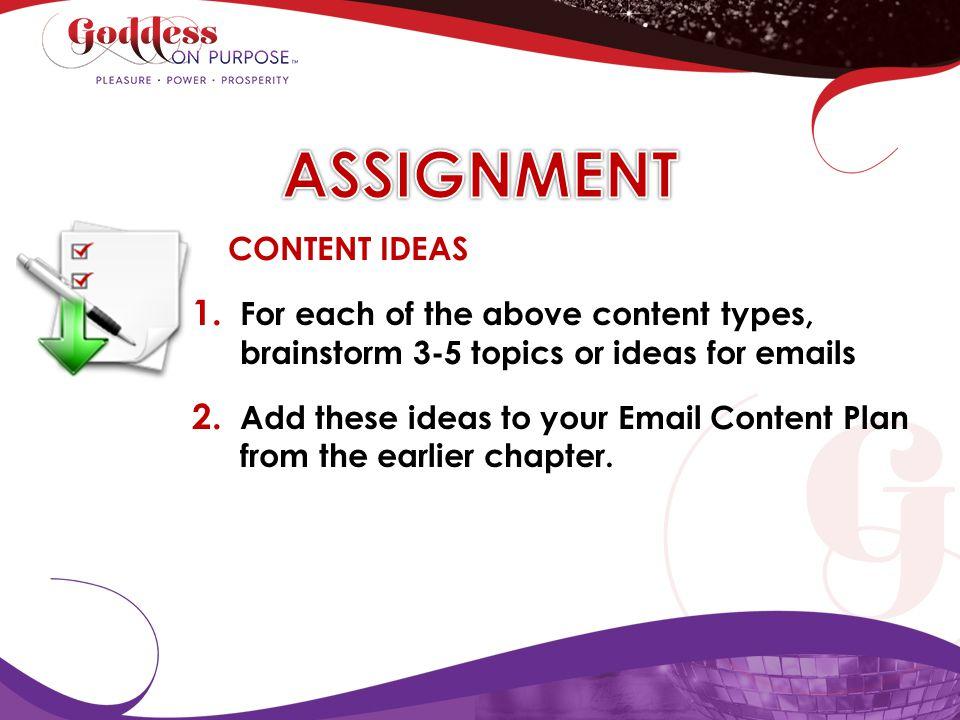 ASSIGNMENT CONTENT IDEAS