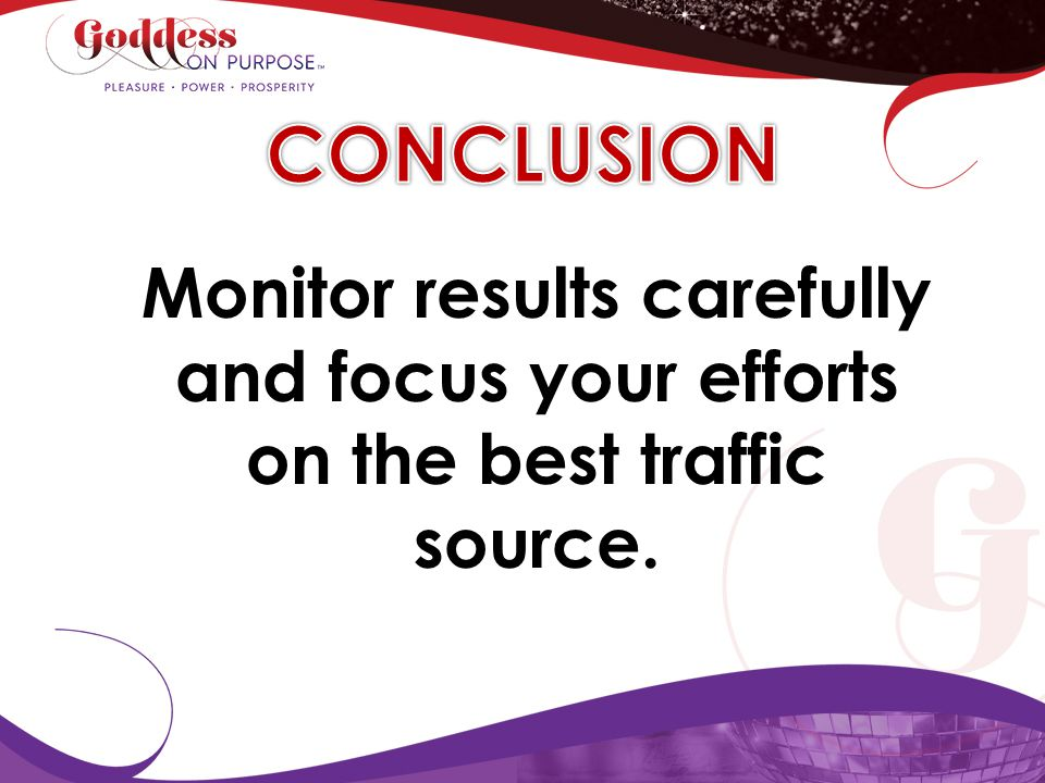 CONCLUSION Monitor results carefully and focus your efforts on the best traffic source.
