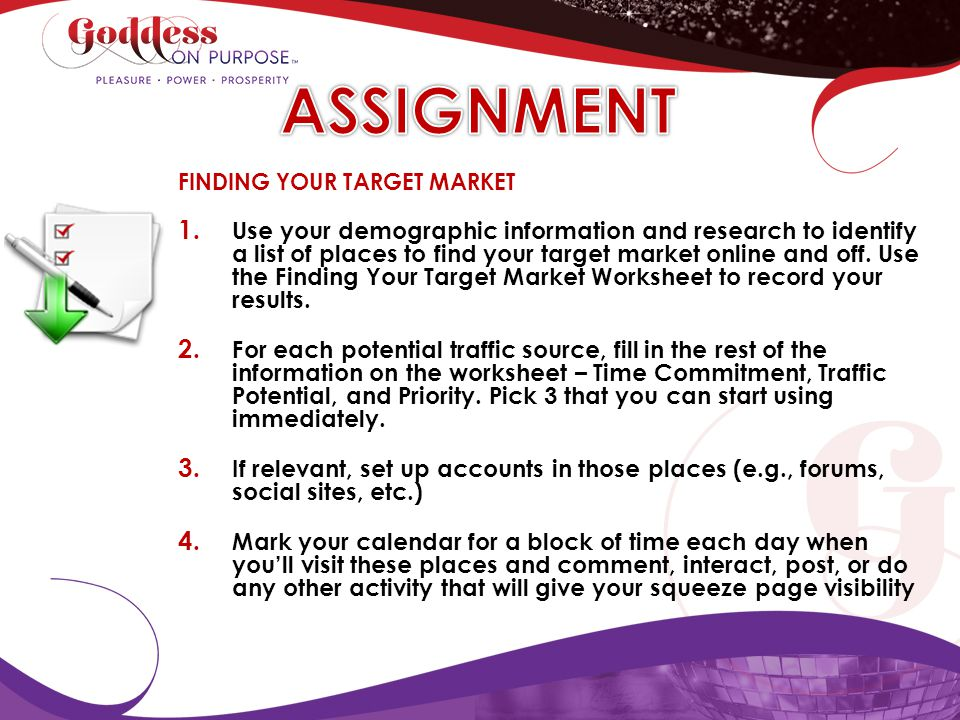 ASSIGNMENT FINDING YOUR TARGET MARKET.