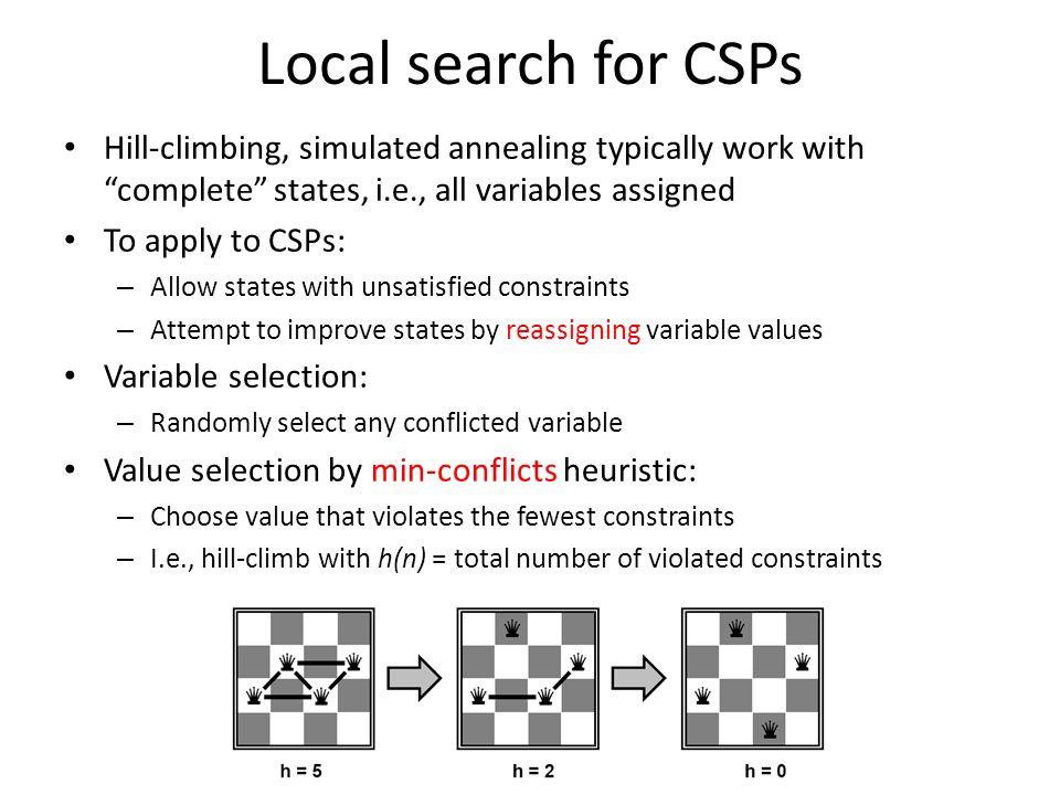 Local search for CSPs Hill-climbing, simulated annealing typically work with complete states, i.e., all variables assigned.
