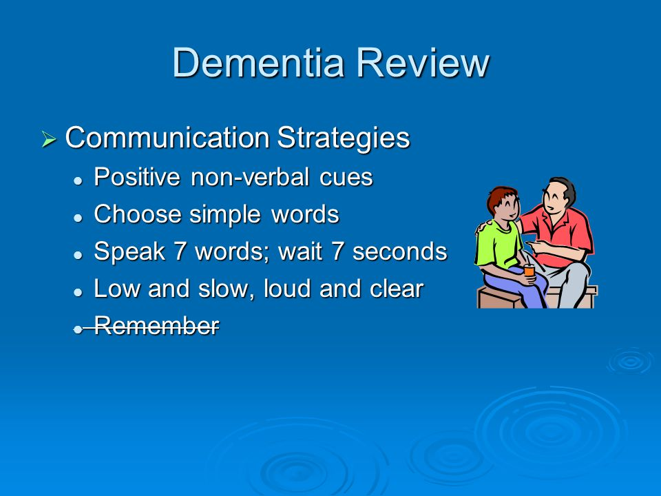 Dementia Review Communication Strategies Positive non-verbal cues
