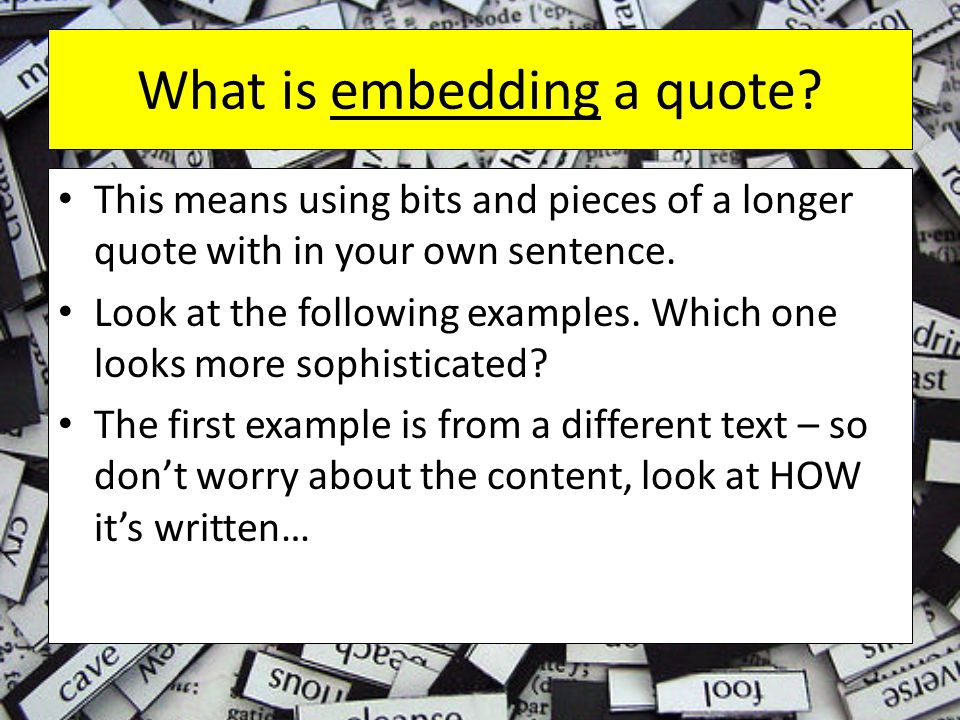 What is embedding a quote