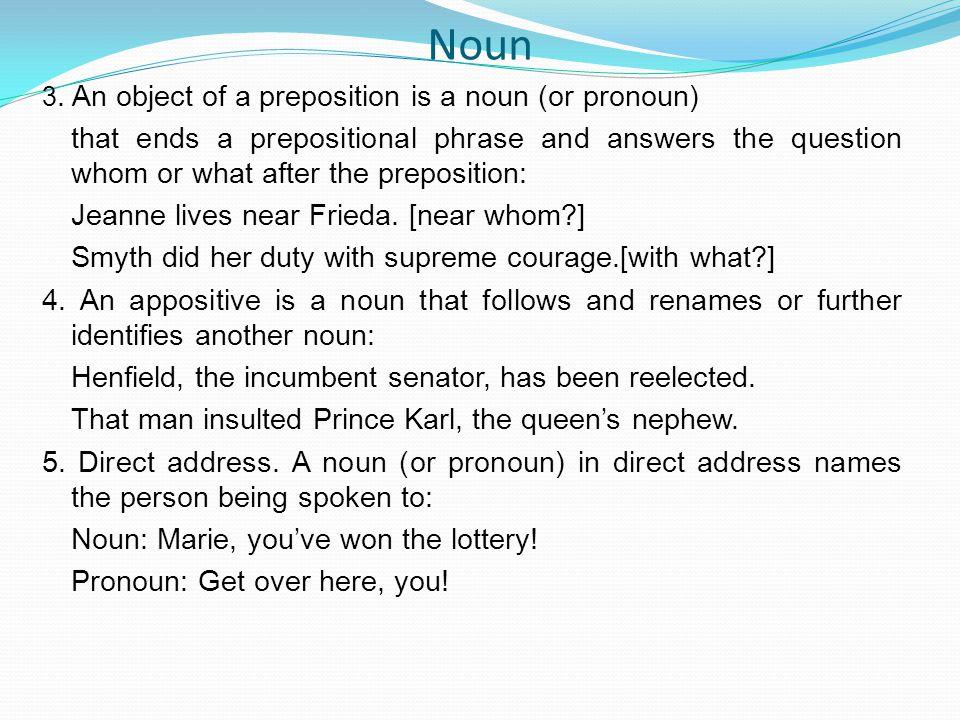 Noun 3. An object of a preposition is a noun (or pronoun)
