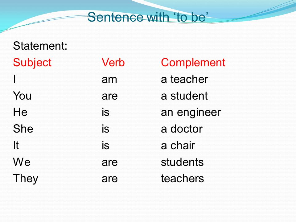 Sentence with 'to be'