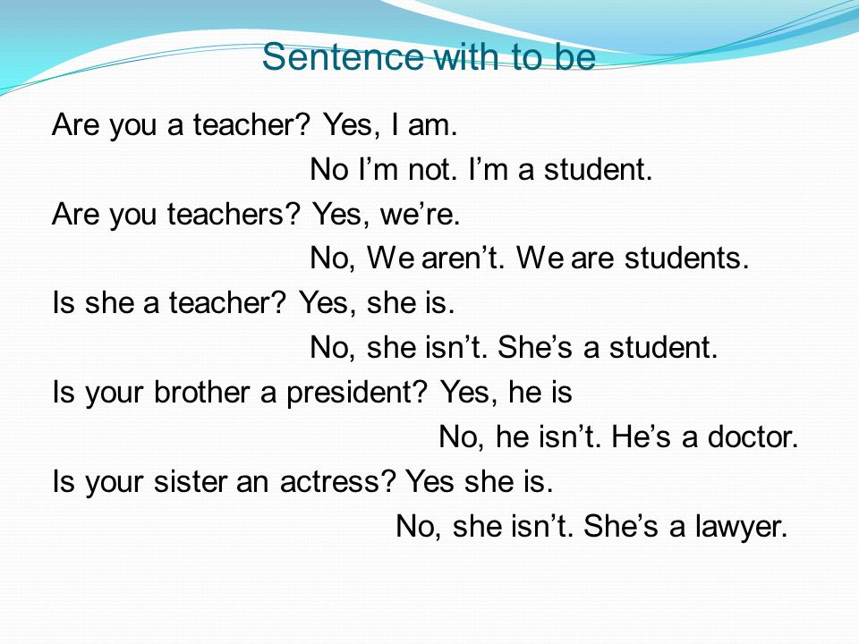 Sentence with to be