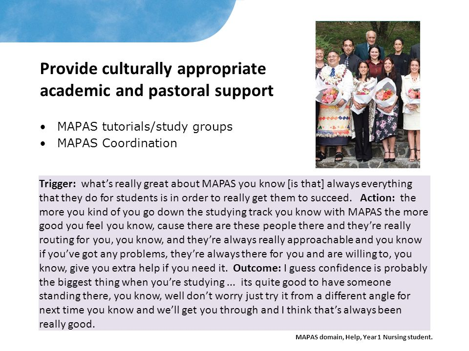 Provide culturally appropriate academic and pastoral support
