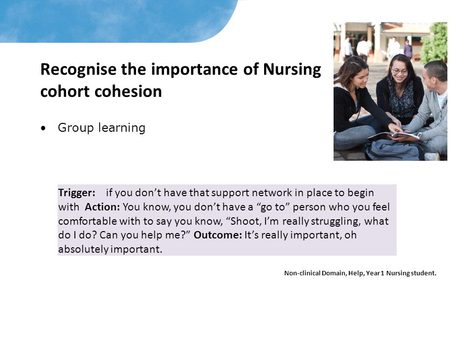 Recognise the importance of Nursing cohort cohesion