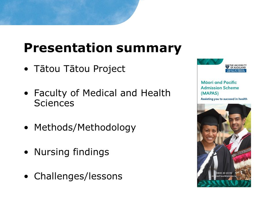 Presentation summary Tātou Tātou Project
