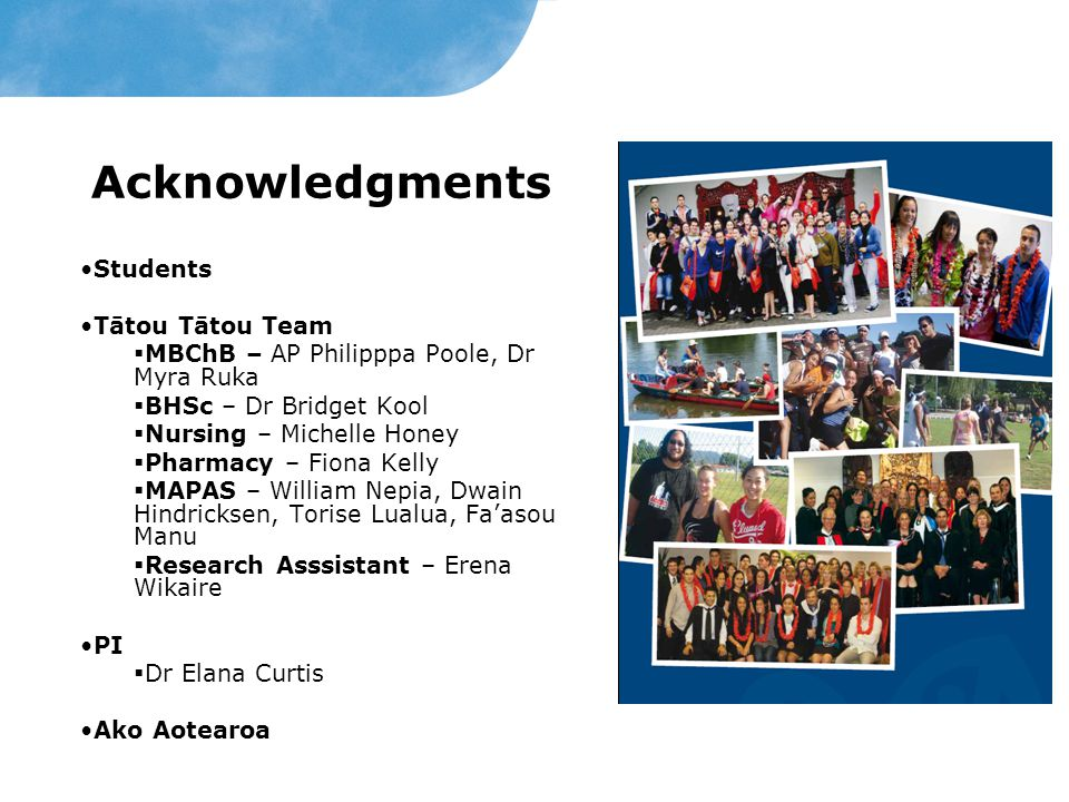 Acknowledgments Students Tātou Tātou Team