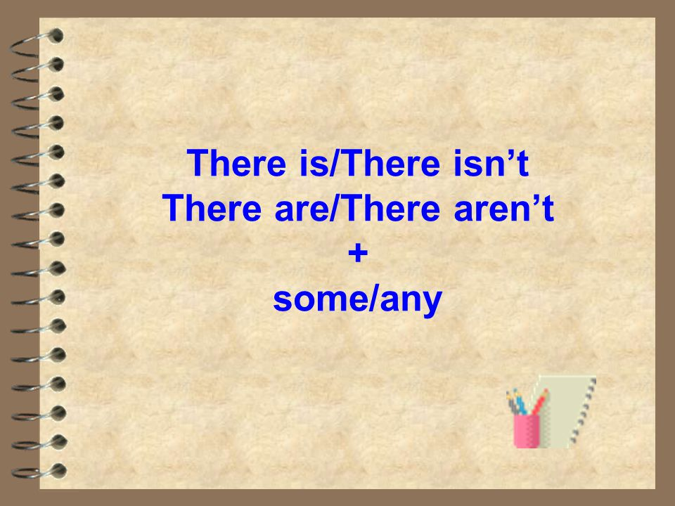 There is/There isn't There are/There aren't + some/any