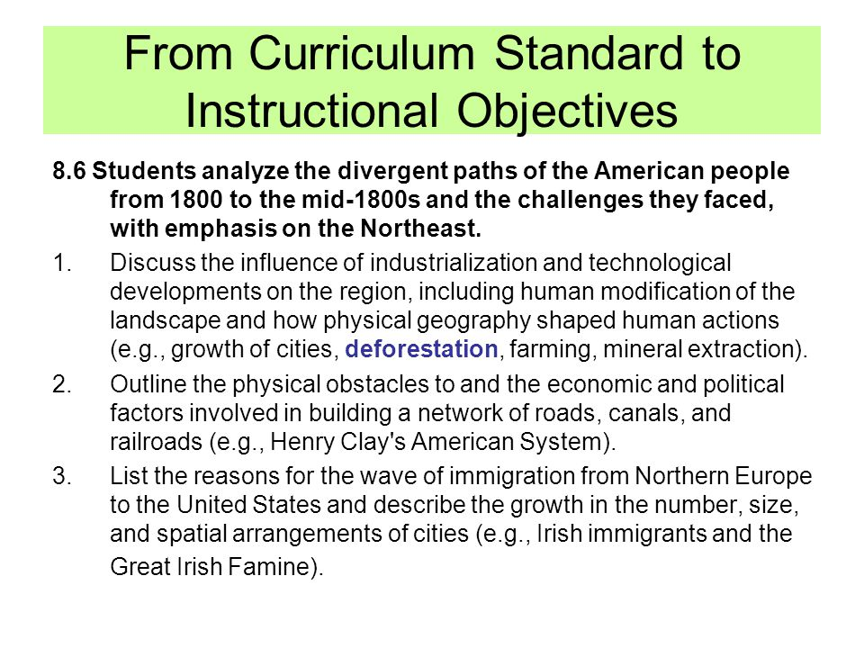 From Curriculum Standard to Instructional Objectives