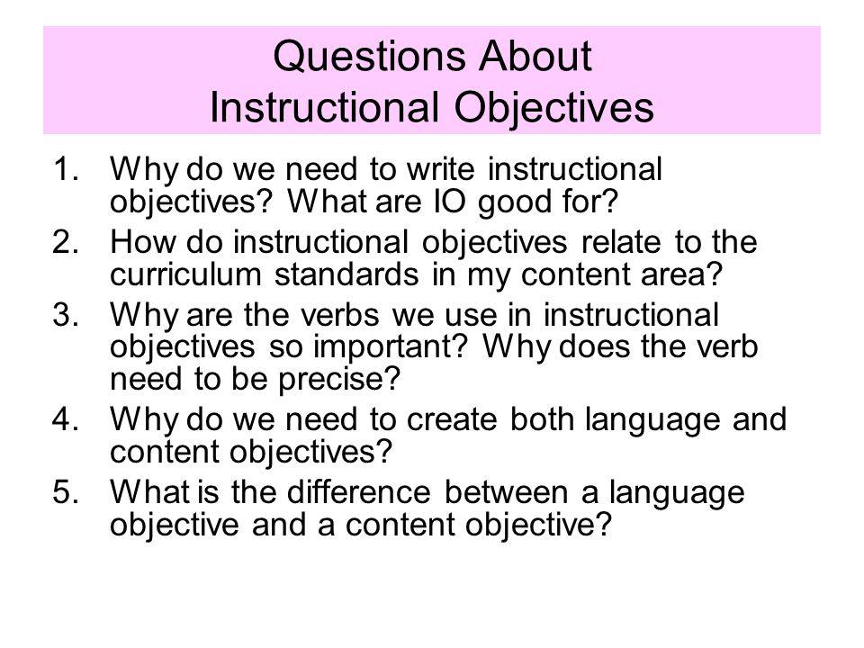Questions About Instructional Objectives