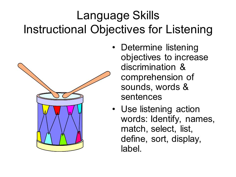 Language Skills Instructional Objectives for Listening