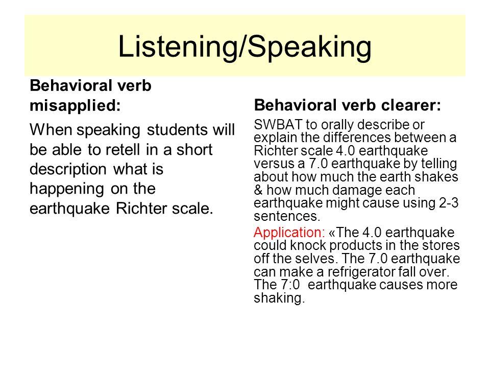 Listening/Speaking Behavioral verb misapplied:
