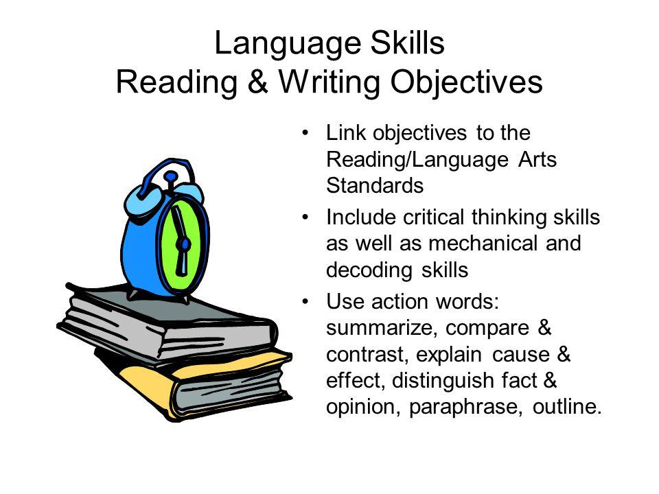 critical thinking skills in language arts