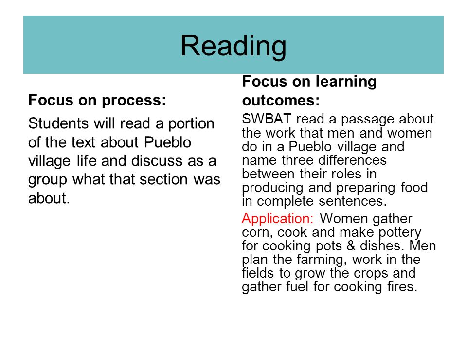 Reading Focus on learning outcomes: Focus on process: