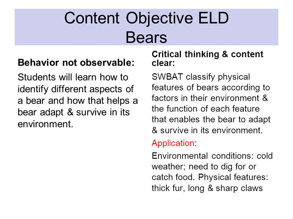 Content Objective ELD Bears