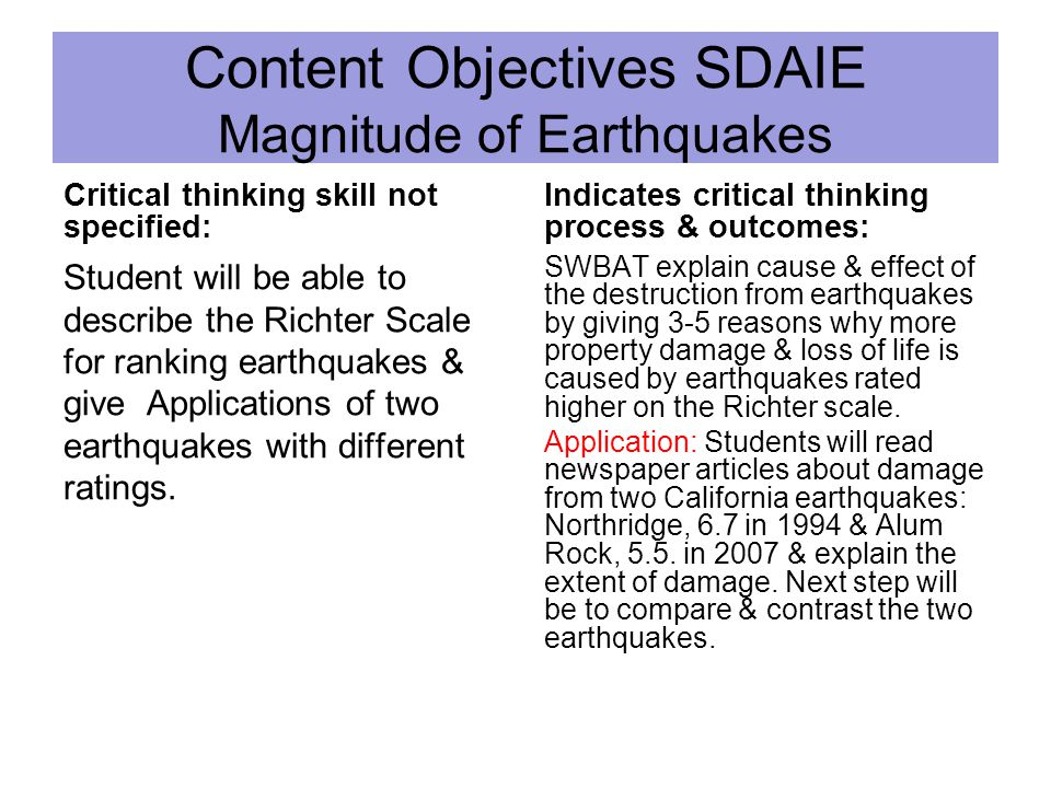 Content Objectives SDAIE Magnitude of Earthquakes