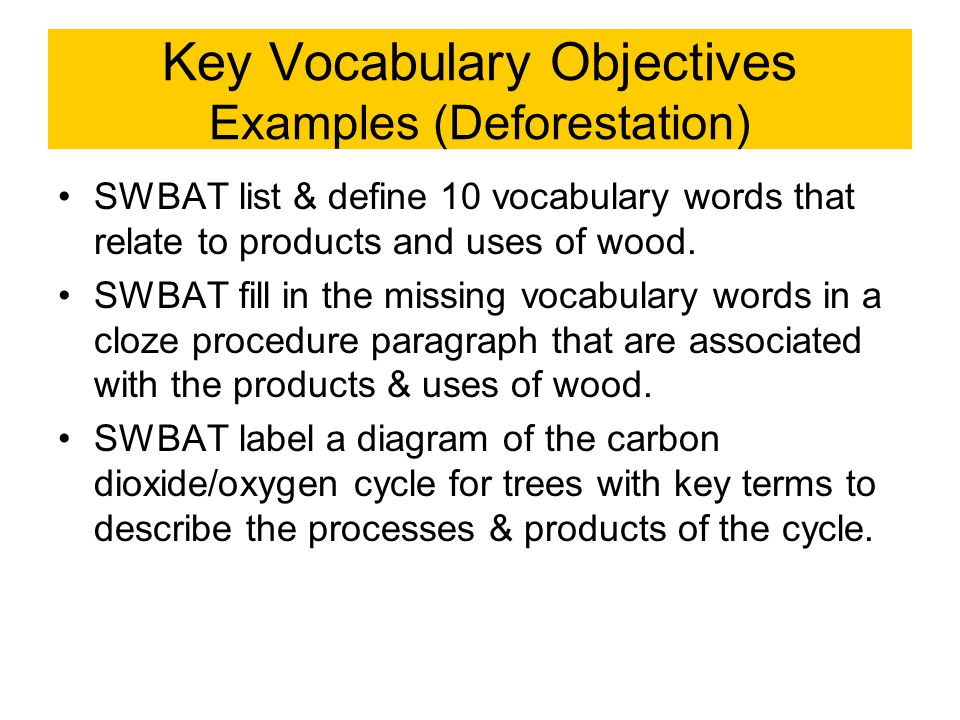 Key Vocabulary Objectives Examples (Deforestation)