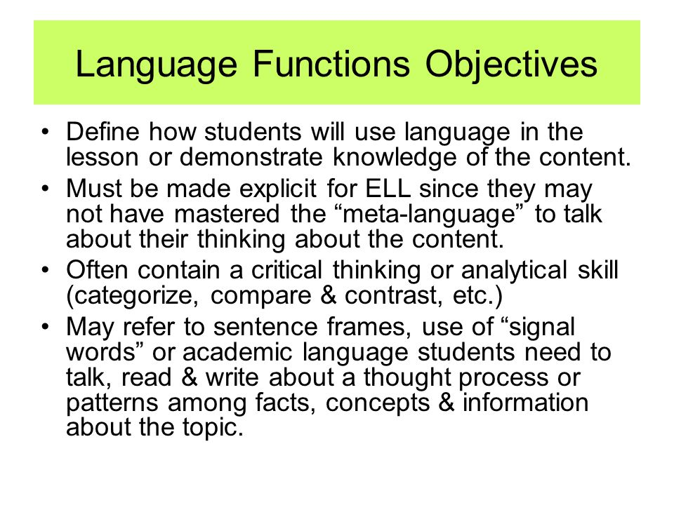 Language Functions Objectives