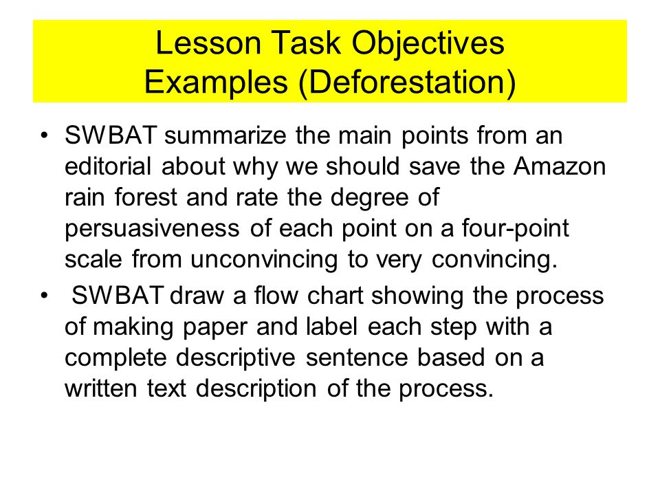 Lesson Task Objectives Examples (Deforestation)