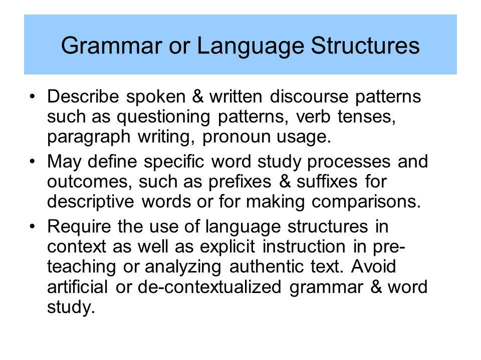 Grammar or Language Structures