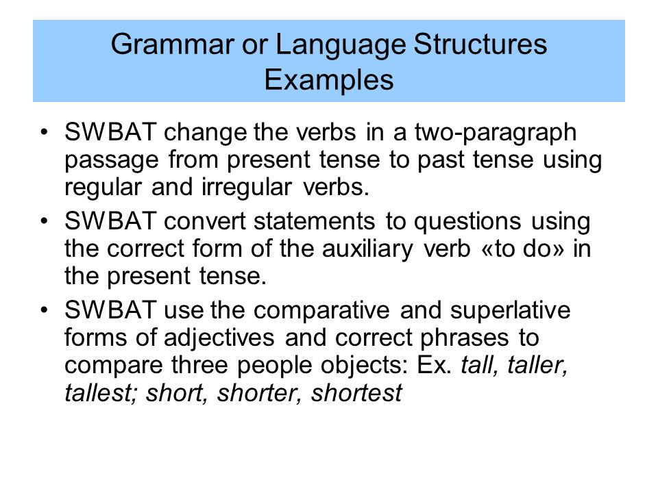 Grammar or Language Structures Examples