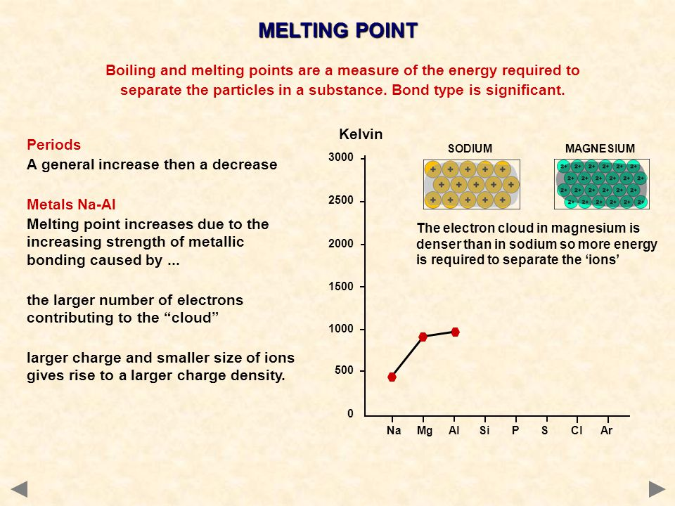 MELTING POINT Boiling and melting points are a measure of the energy required to. separate the particles in a substance. Bond type is significant.