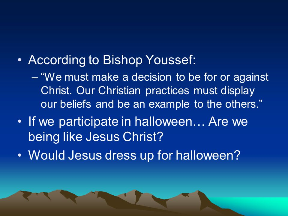 According to Bishop Youssef: