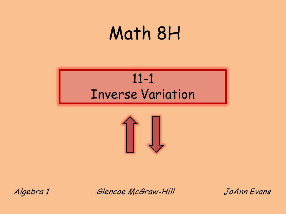 Math 8H 11-1 Inverse Variation