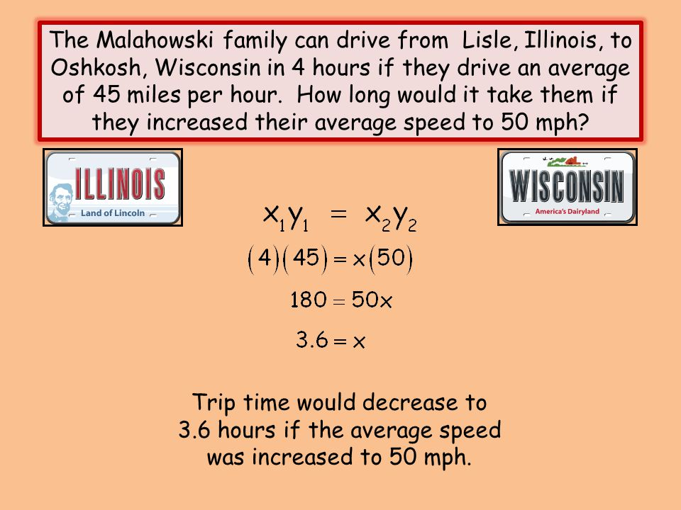 The Malahowski family can drive from Lisle, Illinois, to Oshkosh, Wisconsin in 4 hours if they drive an average of 45 miles per hour. How long would it take them if they increased their average speed to 50 mph