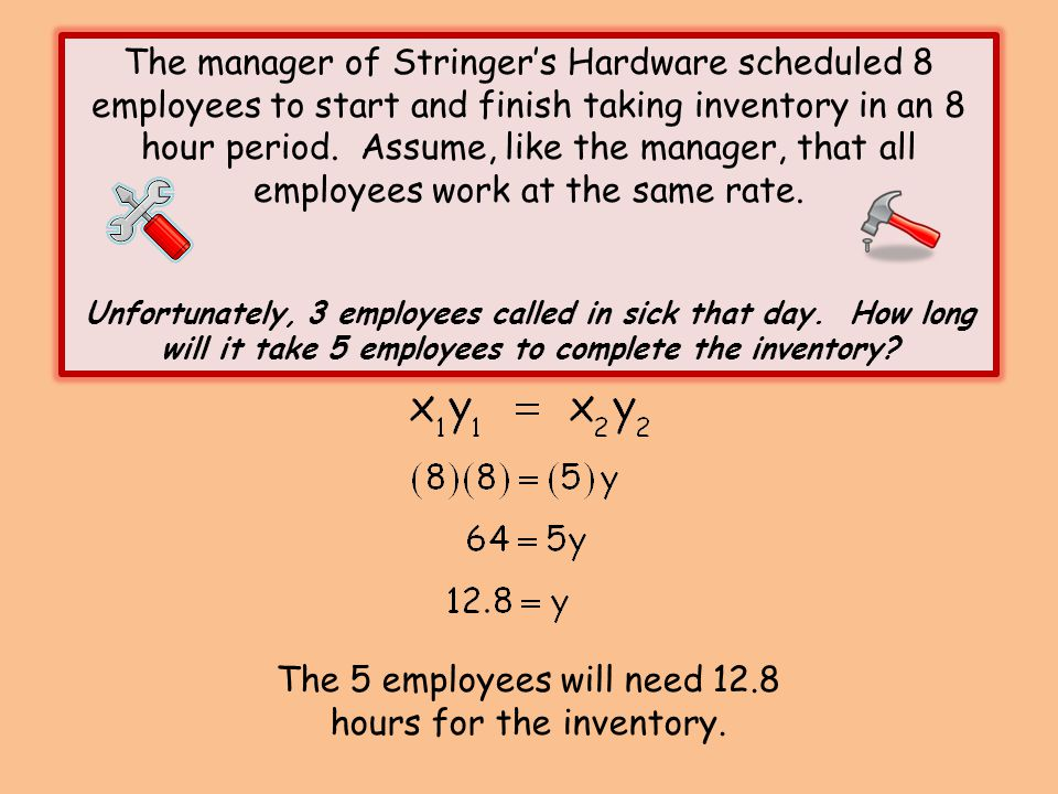 The 5 employees will need 12.8 hours for the inventory.
