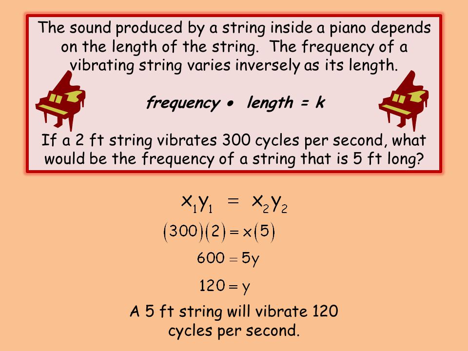 A 5 ft string will vibrate 120 cycles per second.